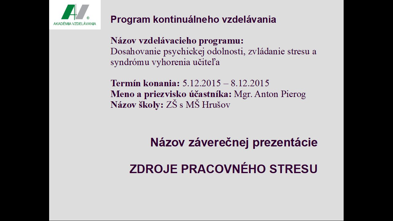 Stres - prezentácia