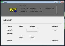WT 4 - výučba v programe, odpoveď sa zadá kliknutím na správny výraz